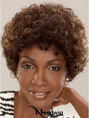 Capless Short Brown Layered Brown Synthetic Afro Kinky Hairstyles