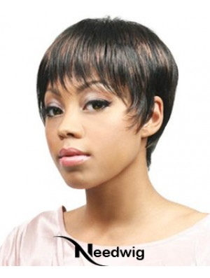 African Hair Wigs Boycuts Cropped Length Straight Style With Capless