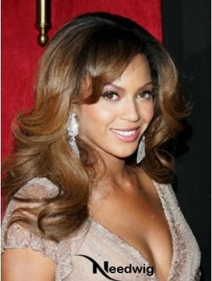 Long Brown Layered Wavy Fashion Full Lace Beyonce Knowles Wigs