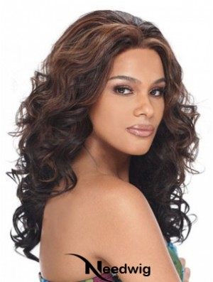 Wavy Without Bangs Lace Front Sleek 20 inch Brown Long Wigs