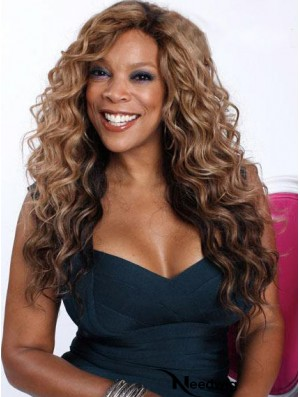 Wavy Brown 22 inch Sleek Wendy Williams Wigs