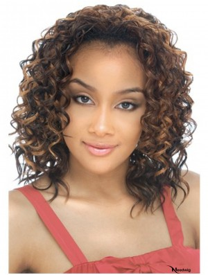 Shoulder Length Curly Blonde Designed Indian Remy Hair Half Wigs