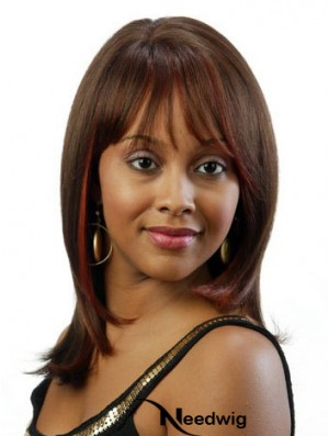 Shoulder Length Brown Straight With Bangs Fabulous African American Wigs