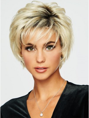 Boycuts Blonde Wavy 5 inch Cropped Synthetic Wigs
