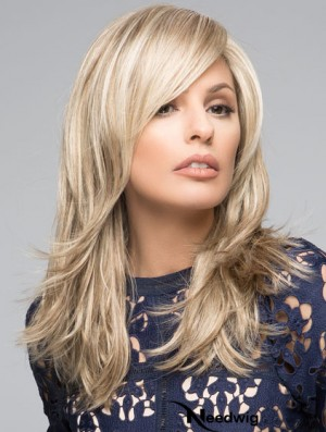 Synthetic Lace Front Monofilament Blonde Color Straight Style Layered Cut