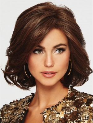 Monofilament Auburn 12 inch Chin Length Layered High Top Wig