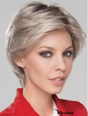 6 inch Short Fashionable Monofilament Wavy Grey Wigs