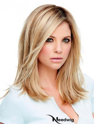 Synthetic Lace Wigs Blonde Shoulder Length Straight Style