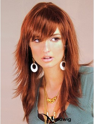 Synthetic Hair UK Auburn Color Long Length Layered Cut With Capless