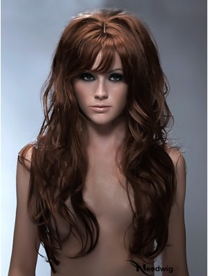 Long Synthetic Hair With Bangs Capless Wavy Style Auburb Color