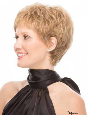 "Capless 6"" Wavy Blonde Convenient Short Wigs"