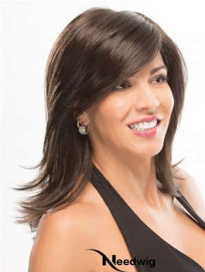 With Bangs 14 inch Shoulder Length Straight Good Medium Wigs