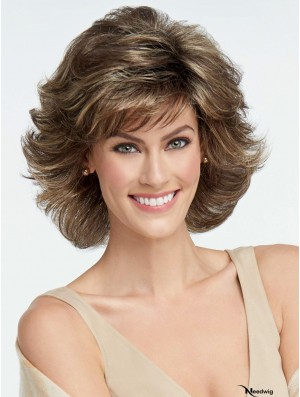 Capless Brown 6 inch Chin Length Layered Synthetic Wigs