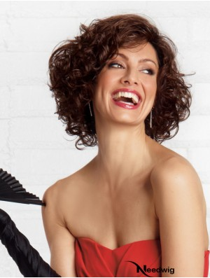 Curly Brown Stylish Chin Length Classic Wigs