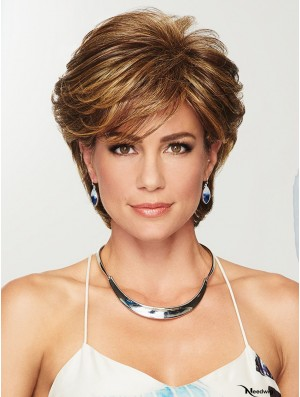Capless Brown 4 inch Short Layered Synthetic Wigs