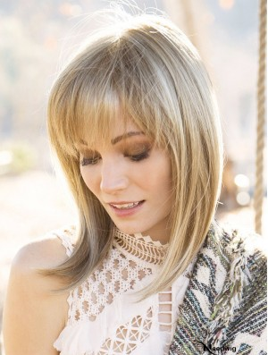 "Blonde 14"" With Bangs Shoulder Length Amazing Monofilament Wigs"