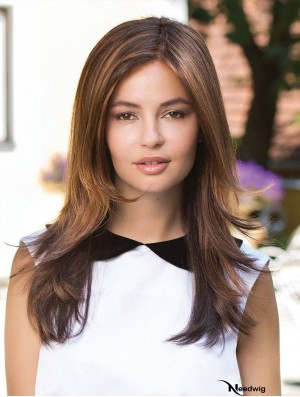 Long Straight Layered Brown Fabulous 100% Hand-tied Wigs
