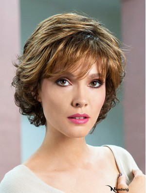 """Wavy Brown Short 8"""" Soft Classic Wigs"""