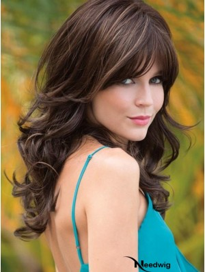 With Bangs Brown Wavy 18 inch Long Synthetic Wigs
