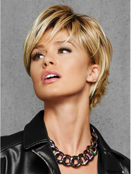 Layered Blonde Straight 6 inch Cropped Synthetic Wigs