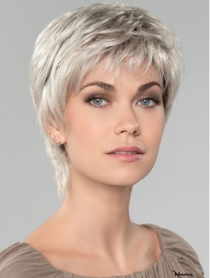Straight Short 8 inch Capless Affordable Grey Wigs