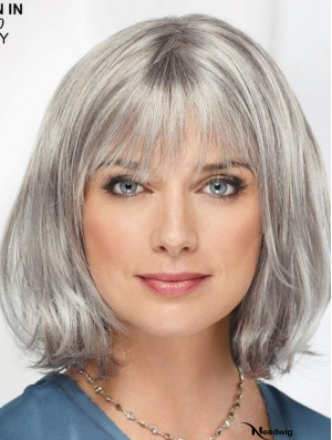 Straight Chin Length 12 inch Monofilament Sassy Grey Wigs