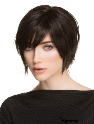 Curly Lace Wigs Synthetic Black Color Layered Cut Short Length