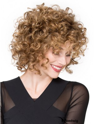 Wigs Lace Front Synthetic Chin Length Curly Style With Bangs