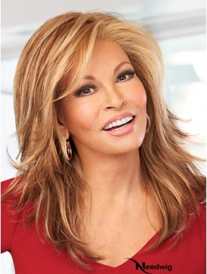 Monofilament Layered Long Brown Straight Good Synthetic Wigs