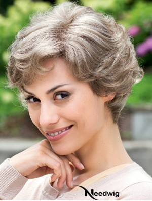 Cheap Grey Wig 100% Hand Tied Layered Cut Short Style