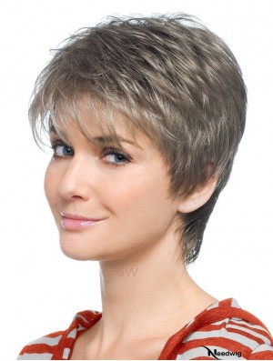 Grey Wig With Capless Synthetic Straight Style Short Length Grey Cut