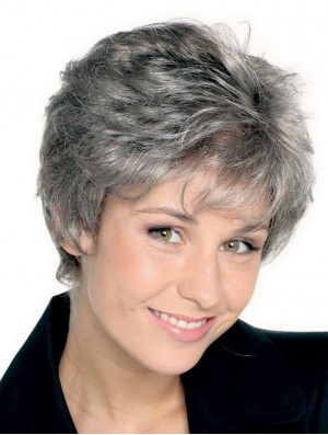 Synthetic Grey Short Straight Monofilament Silver Wig