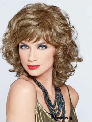 UK Synthetic Lace Front With Bangs Monofilament Curly Style