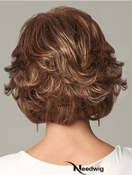 Flexibility Auburn Chin Length Layered Wavy Glueless Lace Front Wigs