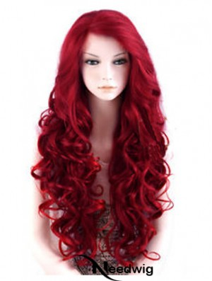 24 inch Red Long Wavy Large Cap Synthetic Lace Front Wigs