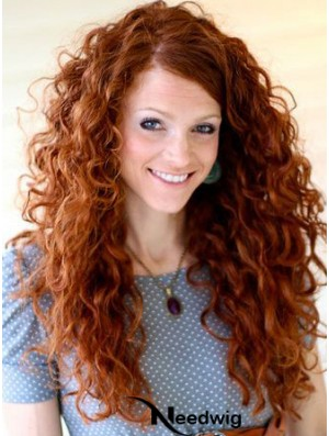 20 inch Curly Without Bangs Lace Front Copper Best Long Wigs