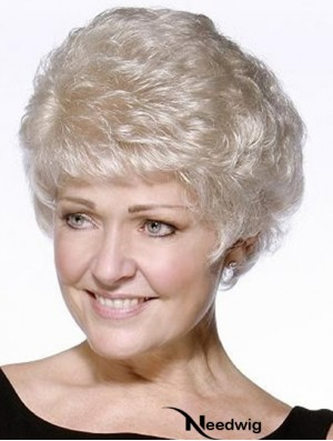 Perfect Short Wavy 100% Hand-tied Grey Wigs
