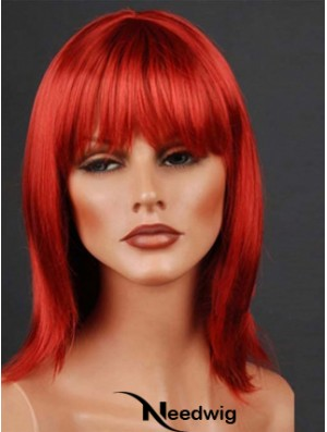 Synthetic Lacefront Wig Monofilament Straight Style Red Color With Bangs