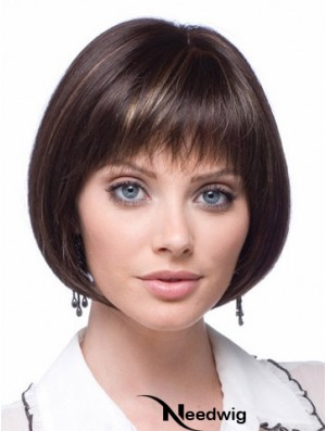 Cheap Synthetic Lace Wigs Chin Length Bobs Cut Brown Color