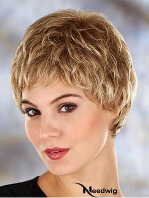 Modern 4 inch Wavy Blonde Boycuts Short Wigs