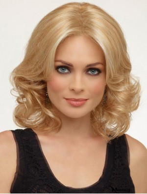 Curly Without Bangs Shoulder Length Blonde Modern Lace Front Wigs