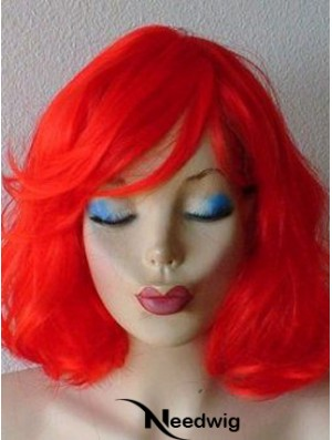 Wavy With Bangs Shoulder Length Red Suitable Lace Front Wigs