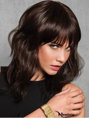 Wavy Brown Synthetic With Bangs 14 inch Medium Length Wigs For Women