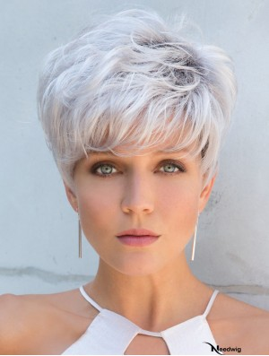 Cropped Straight 5 inch Capless Grey Wigs For Women