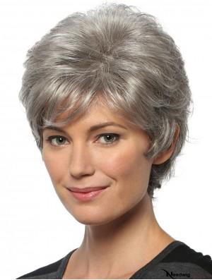 Short Wavy 8 inch Capless Cheap Grey Wigs