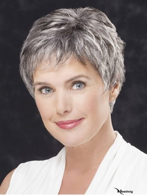 Lace Front Cropped Straight 4 inch Grey Hair Wigs