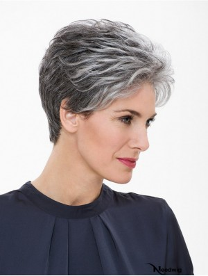 """Capless 7"""" Short Synthetic Straight Grey Wig"""