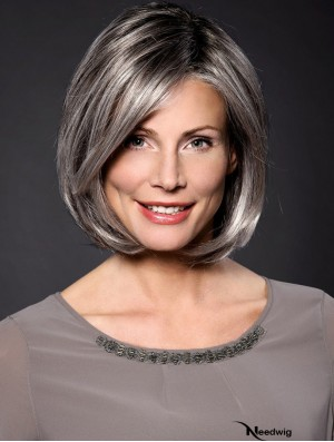 """Straight Grey 10"""" Grey Synthetic 100% Hand-tied Chin Length Wigs For Women"""