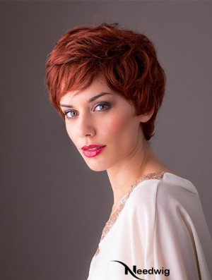"Synthetic Monofilament 8"" Layered Wavy Red Short Style Wigs"