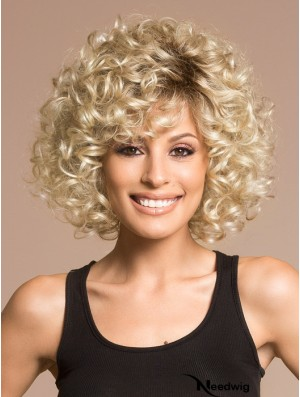Blonde Wigs For Women Chin Length With Bangs Curly Style